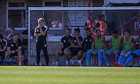 Leyton Orient manager Andy Hessenthaler (standing) during the Sky Bet League 2 match between Cheltenham Town and Leyton Orient at the LCI Rail Stadium, Cheltenham, England on 6 August 2016. Photo by Mark  Hawkins / PRiME Media Images.