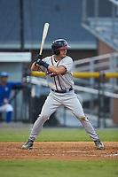 Garrett Saunders (32) of the Danville Braves at bat against the Burlington Royals at Burlington Athletic Stadium on August 9, 2019 in Burlington, North Carolina. The Royals defeated the Braves 6-0. (Brian Westerholt/Four Seam Images)
