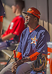 5 March 2013: Houston Astros infielder Delino DeShields sits in the dugout during a Spring Training game against the Washington Nationals at Space Coast Stadium in Viera, Florida. The Nationals defeated the Astros 7-1 in Grapefruit League play. Mandatory Credit: Ed Wolfstein Photo *** RAW (NEF) Image File Available ***