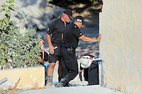 Pictured: Forensics officers work at the rear of the farmhouse where Ben Needham disappeared from on the ground where an extension was demolished in Kos, Greece. Wednesday 05 October 2016<br />