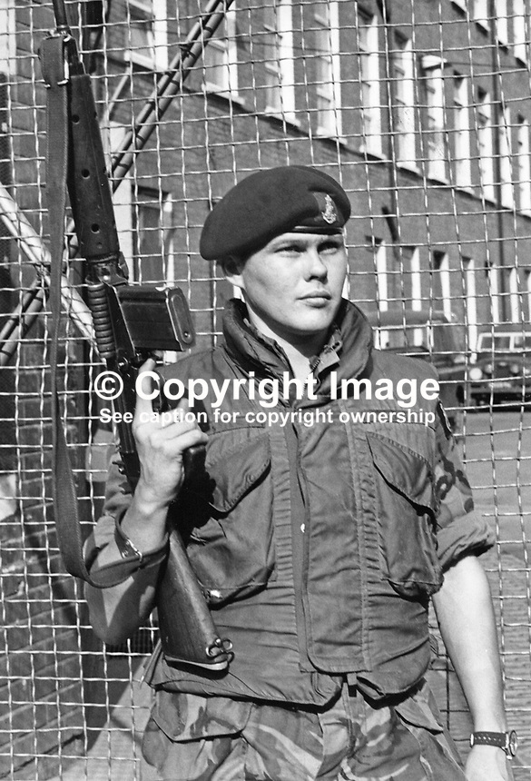 Private George Crozier, Green Howards regiment, UK, killed by a Provisional IRA sniper whilst on duty in an observation post at Flax Street Mill, Belfast, where the regiment was quartered. 23rd August 1971. 197108230540.<br />