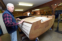 NWA Democrat-Gazette/FLIP PUTTHOFF <br /> Restoring a wooden Lyman power boat is Warren Wilkey's current project. He builds wooden boats and gives old boats     April 20 2018     new life at his home workshop near Garfield.