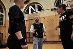 BERLIN 12.2016. GWF (German Wrestling Federation) during training. Center: Ahmed Chaer<br /> <br /> STORY: German Wrestler RAMBO MICHEL BRAUN alias EL COMANDANTE RAMBO during training at GWF Wrestling School in Berlin Neuk&ouml;lln.<br /><br />Other trainers are: Crazy Sexy mike (Hussein Chaer, man with headband) and Ahmed Chaer (man with beard) (Photo by Gregor Zielke)