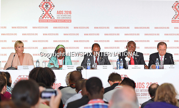 18.07.2016; Durban, South Africa: CHARLIZE THERON<br />attends the 21st International AIDS Conference in Durban.<br />Mandatory Credit Photo: &copy;GCIS/NEWSPIX INTERNATIONAL<br /><br />IMMEDIATE CONFIRMATION OF USAGE REQUIRED:<br />Newspix International, 31 Chinnery Hill, Bishop's Stortford, ENGLAND CM23 3PS<br />Tel:+441279 324672  ; Fax: +441279656877<br />Mobile:  07775681153<br />e-mail: info@newspixinternational.co.uk<br />**All Fees Payable To Newspix International**