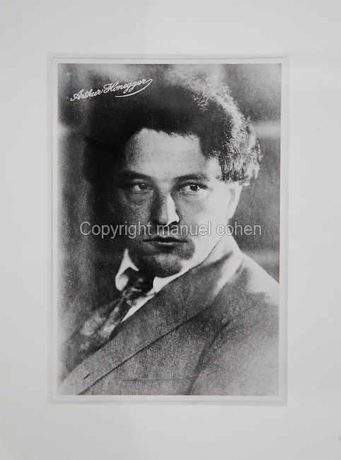 Arthur Honegger, 1892-1955, Swiss composer, photograph taken at the Theatre du Jorat in Mezieres, Switzerland, by Robert Rigassi in 1921. Copyright © Collection Particuliere Tropmi / Manuel Cohen
