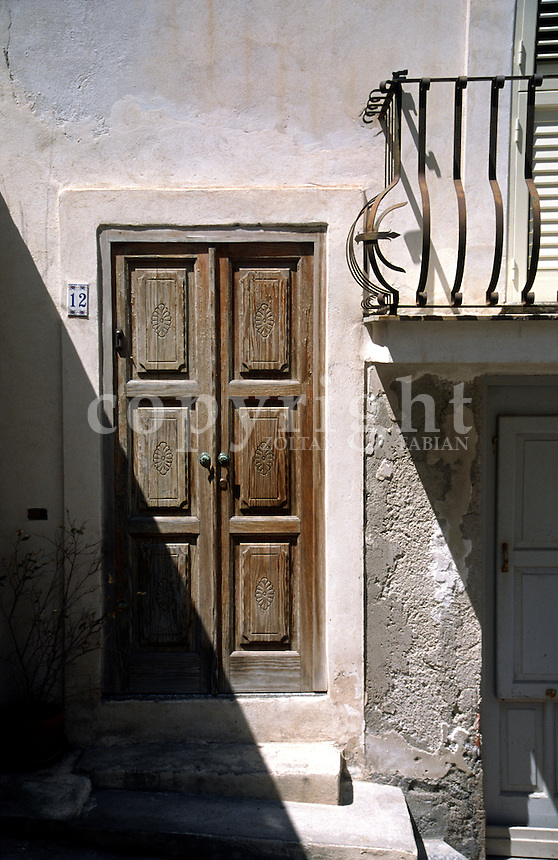 Old wooden door in Lipari, Sicily, Italy, Europe