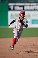 Auburn Doubledays shortstop Jose Sanchez (9) runs the bases during a game against the Batavia Muckdogs on September 2, 2018 at Dwyer Stadium in Batavia, New York.  Batavia defeated Auburn 5-4.  (Mike Janes/Four Seam Images)