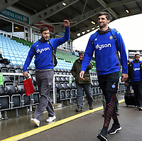 Matt Banahan, Luke Charteris and the rest of the Bath Rugby team arrive at the stadium. Aviva Premiership match, between Harlequins and Bath Rugby on March 2, 2018 at the Twickenham Stoop in London, England. Photo by: Patrick Khachfe / Onside Images