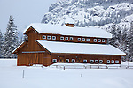 Okanogan County, WA<br /> Horse barn and ridge line of the Cascade Range under a blanket of fresh snow in the Methow Valley, near Mazama