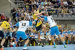 GER - Mannheim, Germany, September 23: During the DKB Handball Bundesliga match between Rhein-Neckar Loewen (yellow) and TVB 1898 Stuttgart (white) on September 23, 2015 at SAP Arena in Mannheim, Germany. Final score 31-20 (19-8) .  Harald Reinkind #27 of Rhein-Neckar Loewen, Teo Coric #13 of TVB 1898 Stuttgart, Dominik Weiss #6 of TVB 1898 Stuttgart<br /> <br /> Foto &copy; PIX-Sportfotos *** Foto ist honorarpflichtig! *** Auf Anfrage in hoeherer Qualitaet/Aufloesung. Belegexemplar erbeten. Veroeffentlichung ausschliesslich fuer journalistisch-publizistische Zwecke. For editorial use only.