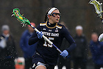 01 March 2015: Notre Dame's Cortney Fortunato. The Duke University Blue Devils hosted the University of Notre Dame Fighting Irish on the West Turf Field at the Duke Athletic Field Complex in Durham, North Carolina in a 2015 NCAA Division I Women's Lacrosse match. Duke won the game 17-3.
