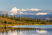 Mt Brooks of the Alaska Range reflects in Wonder Lake, Denali National Park, Alaska.