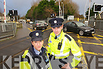 Tralee Gardai are warning motorists to obey traffic lights at the level crossing at clash in photo are Garda Claire Dennehy and Garda Thomas Sugrue.