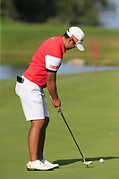 Peiyun Chien (TAI) putts on the 5th green during Thursday's Round 1 of The Evian Championship 2018, held at the Evian Resort Golf Club, Evian-les-Bains, France. 13th September 2018.<br /> Picture: Eoin Clarke | Golffile<br /> <br /> <br /> All photos usage must carry mandatory copyright credit (© Golffile | Eoin Clarke)
