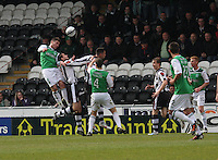 Goulmouth action in the St Mirren goal area in the St Mirren v Hibernian Clydesdale Bank Scottish Premier League match played at St Mirren Park, Paisley on 29.4.12.