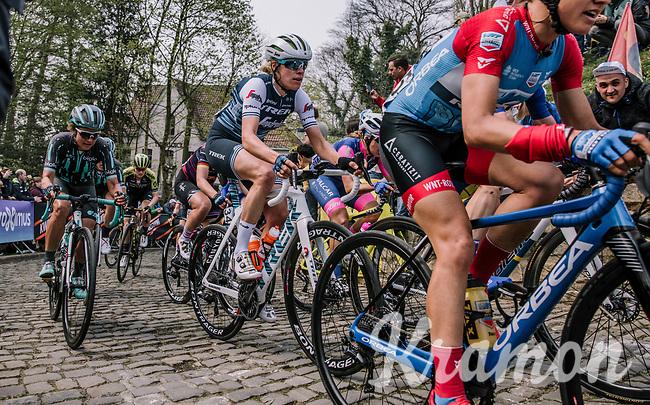 The Peloton at the top of the Muur,  16th Ronde Van Vlaanderen<br /> <br /> Elite Womans Race (1.WWT)<br /> <br /> One day race from Oudenaarde to Oudenaarde<br /> ©Jojo Harper for Kramon