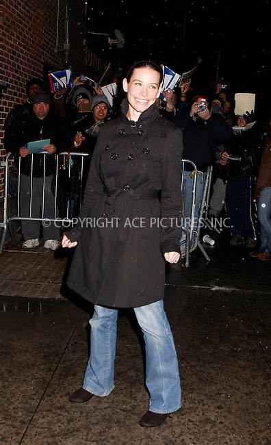 WWW.ACEPIXS.COM . . . . .  ....February 12 2008, New York City....Actress Evangeline Lilly mad an appearance at the 'Late Show with David Letterman' at the Ed Sullivan Theatre in midtown Manhattan.......Please byline: AJ Sokalner - ACEPIXS.COM.... *** ***..Ace Pictures, Inc:  ..(212) 243-8787 or (646) 769 0430..e-mail: picturedesk@acepixs.com..web: http://www.acepixs.com