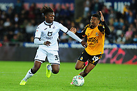 Tivonge Rushesha of Swansea City in action during the Carabao Cup Second Round match between Swansea City and Cambridge United at the Liberty Stadium in Swansea, Wales, UK. Wednesday 28, August 2019.