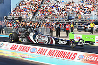 Sept. 22, 2013; Ennis, TX, USA: NHRA top fuel dragster driver Shawn Langdon during the Fall Nationals at the Texas Motorplex. Mandatory Credit: Mark J. Rebilas-
