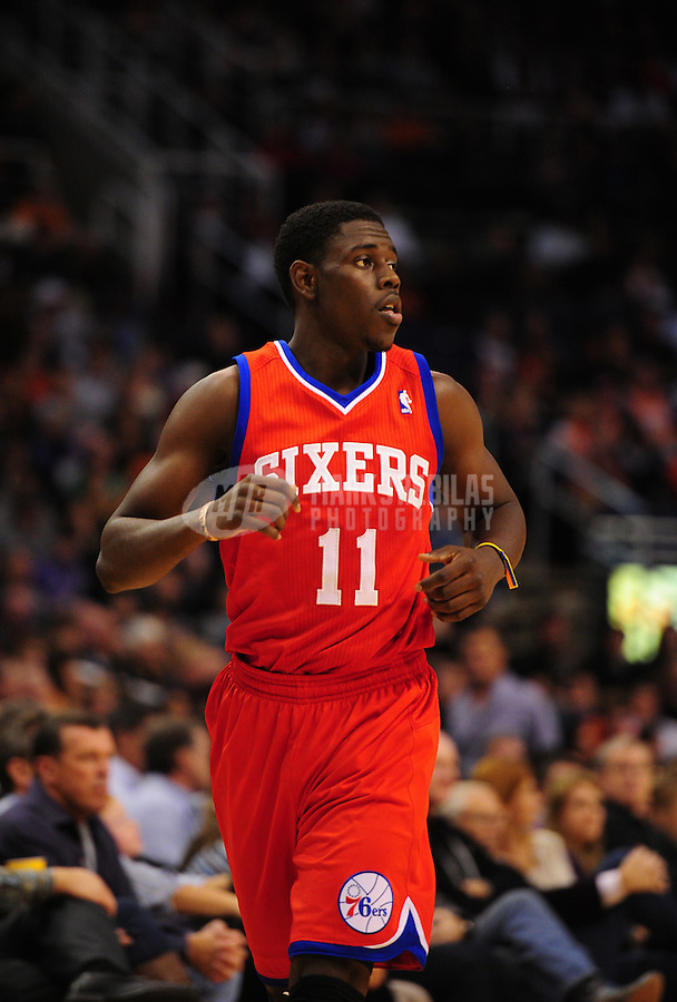 Dec. 28, 2011; Phoenix, AZ, USA; Philadelphia 76ers guard Jrue Holiday during game against the Phoenix Suns at the US Airways Center. The 76ers defeated the Suns 103-83. Mandatory Credit: Mark J. Rebilas-USA TODAY Sports