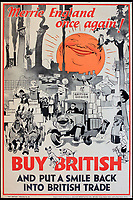 BNPS.co.uk (01202 558833)<br /> Pic:  OnslowAuctions/BNPS<br /> <br /> History repeating itself...'Merry England'<br /> <br /> 'Buy British' campaign posters from the early 1930's that chime with a modern audience full of Brexit fears are being sold by Onslows auctioneers in Dorset.<br /> <br /> The jingoistic campaign was created by Edward, Prince of Wales following the Great Depression and exhorted the population to buy British goods to protect British jobs.<br /> <br /> The future Edward VIII fronted a campaign to get Brits to stop importing foreign goods in a bid to boost the economy, making an official announcement in November 1931 stating the nation was buying 'more than it could afford' from abroad and that Brits should 'buy at home'.<br /> <br /> To support his message, 26 posters were issued on a weekly basis to Britain's factories carrying slogans demanding workers to do their bit and purchase local goods.