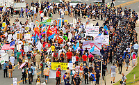 March On Wall Street South' demonstrators march in Charlotte, North Carolina ahead of the Democratic National Convention, September 2, 2012 in Charlotte, North Carolina. Hundreds of people chanting slogans and carrying signs against and for an assortment of different causes marched Sunday through the city to protest what they said was seedy corporate influence on politics.