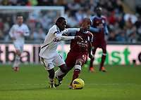 Pictured L-R: Nathan Dyer of Swansea against Fabian Delph of Aston Villa. Sunday 27 November 2011<br /> Re: Premier League football Swansea City FC v Aston Villa at the Liberty Stadium, south Wales.