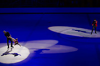 Elena Jovanovich (2nd L) and Nodar Maisuradze (L) perform with Emmy-award winning violin player-composer musician Edvin Marton (R) of Hungary perform during the Kings on Ice skating show in Budapest, Hungary on April 29, 2018. ATTILA VOLGYI