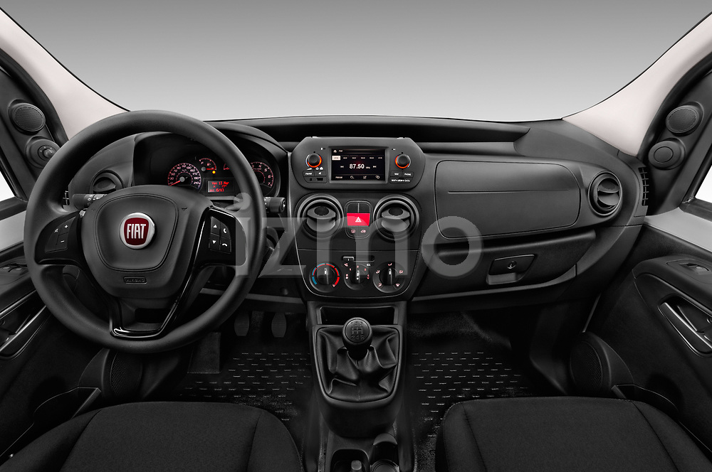 Stock photo of straight dashboard view of 2017 Fiat Fiorino Pack 4 Door Car Van Dashboard
