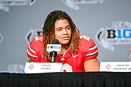 Indianapolis, IN - DEC 1, 2018: Ohio State Buckeyes defensive end Chase Young (2) talks with the media after defeating the Northwestern Wildcats 45-24 in the Big Ten Championship game at Lucas Oil Stadium in Indianapolis, IN. Young finished the game with 3 sacks on the night. (Photo by Phillip Peters/Media Images International)