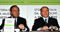 """Roma 09 12 2004 Presentazione del libro """"Storia d'Italia da Mussolini a Berlusconi""""<br /> Silvio Berlusconi Presidente del Consiglio<br /> Bruno Vespa Giornalista<br /> Foto Serena Cremaschi Insidefoto"""
