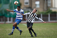 Elliot Browne of Ilford and Adrian Cant of Harwich during Ilford vs Harwich & Parkeston, Emirates FA Cup Football at Cricklefields Stadium on 10th August 2019