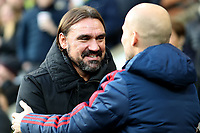 1st December 2019; Carrow Road, Norwich, Norfolk, England, English Premier League Football, Norwich versus Arsenal; Norwich City Manager Daniel Farke speaks with Arsenal Caretaker Manager Fredrik Ljungberg - Strictly Editorial Use Only. No use with unauthorized audio, video, data, fixture lists, club/league logos or 'live' services. Online in-match use limited to 120 images, no video emulation. No use in betting, games or single club/league/player publications