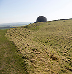 Defensive rampart at Barbury Castle Country Park, Iron Age hill fort, Wiltshire, England, UK