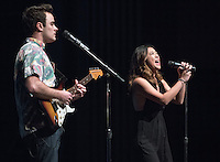 Angus McDonald '16 and Janine Penafort '16 perform. Occidental College students perform and compete during Apollo Night, one of Oxy's biggest talent showcases, on Friday, Feb. 26, 2016 in Thorne Hall. Sponsored by ASOC, hosted by the Black Student Alliance as part of Black History Month.<br /> (Photo by Marc Campos, Occidental College Photographer)
