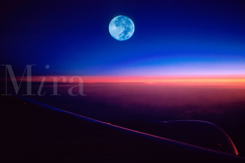 "JP0004 ""Window Seat #1 - Airplane Wing at Sunrise with Full Moon"""