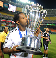 DC United forward  Luciano Emilio (11) kisses the US. Open Cup Trophy after the victory, DC United defeated The Charleston Battery  to win the  US. Open Cup, Wednesday September 3, 2008 at RFK Stadium.