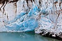 Aerial view of Kinik Glacier, and crevasse, Alaska