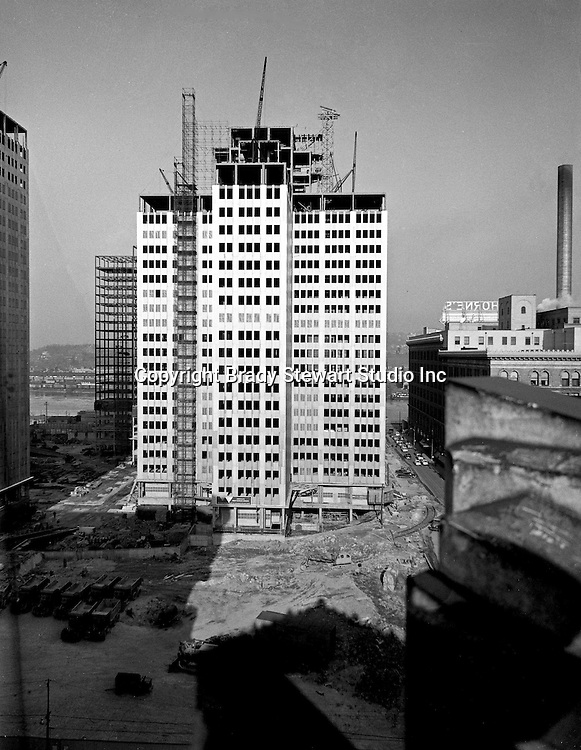 Pittsburgh PA:  View of Gateway Center 1 progress photographs - 1951. Gateway Center, a four-building office campus that is a centerpiece of the Downtown Pittsburgh business district. Serving as the key piece of Pittsburgh's Renaissance 1,  Gateway Center and the original Pittsburgh Hilton shaped the Pittsburgh Point for over 30 years. Gateway Center totals nearly 1.5 million square feet of space on 8.9 acres, along with the complementing landscaped plaza, underground walkways and parking.