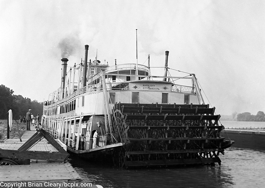"""The riverboat """"Queen City"""" at a dock on the Ohio River , near U.S. lock # 18, in 1930's America.  (photo by bcpix.com)"""