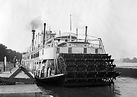 "The riverboat ""Queen City"" at a dock on the Ohio River , near U.S. lock # 18, in 1930's America.  (photo by bcpix.com)"
