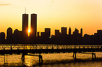 Sun setting between the towers of the  World Trade Center, New York City, USA