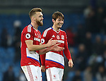Calum Chambers of Middlesbrough happy with Goalscorer Marten de Roon of Middlesbrough (r)celebrates the draw during the Premier League match at the Etihad Stadium, Manchester. Picture date: November 5th, 2016. Pic Simon Bellis/Sportimage