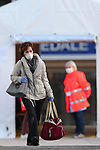 22/03/2020 in Trento, Italy. Most part of Europe is today on a sweeping confinement to try to slow down the spread of the Covid-19 Pandemic. A woman wearing a mask leaves the Santa Chiara Hospital of the Trentino Province in North Italy.