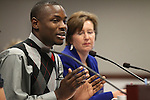 Dashaun Jackson, a former foster youth, testifies on a measure that would increase fees at county recorders' offices and funnel the money to legal services for abused or neglected children. Barbara Buckley, the executive director of Legal Aid Center of Southern Nevada, right, also testified during a hearing at the Legislature, in Carson City, Nev., on Wednesday, March 23, 2011. .Photo by Cathleen Allison