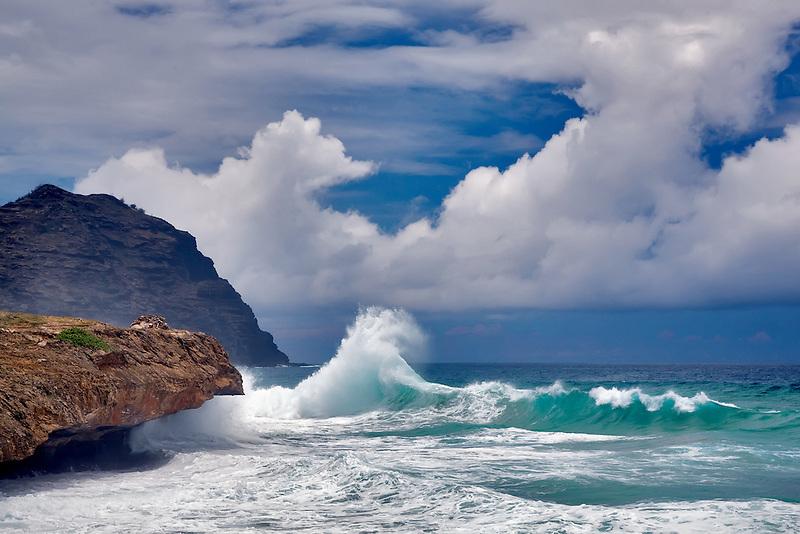 Waves off southern Kauai Coast. Hawaii