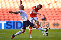 Luton Town's Scott Cuthbert stretches to block the shot of Blackpool's Kyle Vassell<br /> <br /> Photographer Richard Martin-Roberts/CameraSport<br /> <br /> The EFL Sky Bet League Two Play-Off Semi Final First Leg - Blackpool v Luton Town - Sunday May 14th 2017 - Bloomfield Road - Blackpool<br /> <br /> World Copyright &copy; 2017 CameraSport. All rights reserved. 43 Linden Ave. Countesthorpe. Leicester. England. LE8 5PG - Tel: +44 (0) 116 277 4147 - admin@camerasport.com - www.camerasport.com