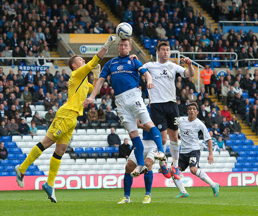 Birmingham City's goalkeeper Jack Butland and Stephen Caldwell combine to thwart Leicester City's David Nugent ..Football - npower Football League Championship - Birmingham City v Leicester City - Saturday 20th October 2012 - St Andrews - Birmingham..