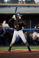 Bristol Pirates catcher Manny Bejerano (24) at bat during the first game of a doubleheader against the Bluefield Blue Jays on July 25, 2018 at Bowen Field in Bluefield, Virginia.  Bluefield defeated Bristol 6-3.  (Mike Janes/Four Seam Images)