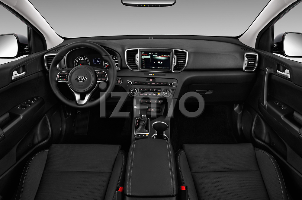Stock photo of straight dashboard view of a 2019 KIA Sportage EX 5 Door SUV